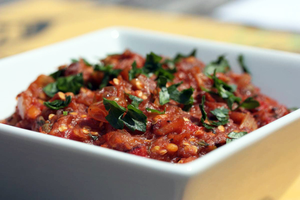 Spicy Eggplant Caponata | What Would Cathy Eat?