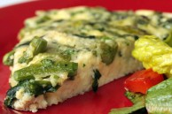 Egg white frittata with ramps and asparagus