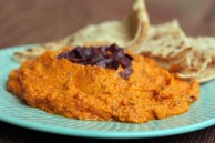 Red pepper and olive hummus