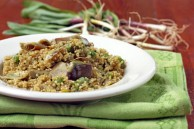 Quinoa with ramps, artichokes and peas