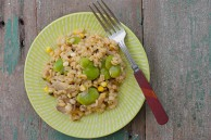 barley risotto with fava beans, corn and mushrooms