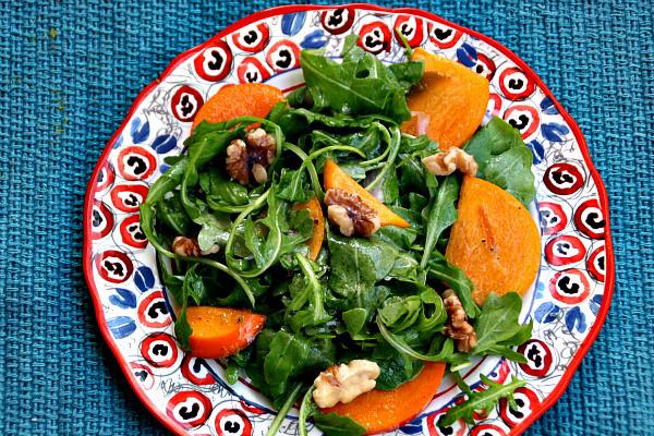 Arugula persimmon salad