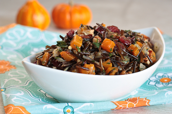 wild ricepilaf with butternut squash, cranberries and pecans