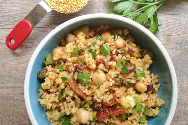 Moroccan Millet or Quinoa Salad with Chickpeas | What Would Cathy Eat?