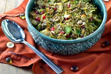 Maple Mustard Brussels Sprouts with Pepitas and Pomegranate Seeds from Cara's Cravings