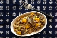 Vegan farro risotto with delicata squash