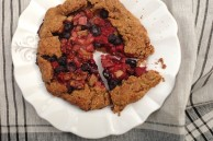 Rhubarb raspberry blueberry tart