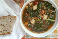 Lentil kale sweet potato soup