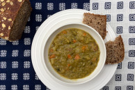 bowl of vegan split pea soup